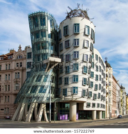 PRAGUE - JUNE 30: Modern building, also known as the Dancing House, designed by Vlado Milunic and Frank O. Gehry stands on June 30, 2013 in Prague, Czech Republic - stock photo