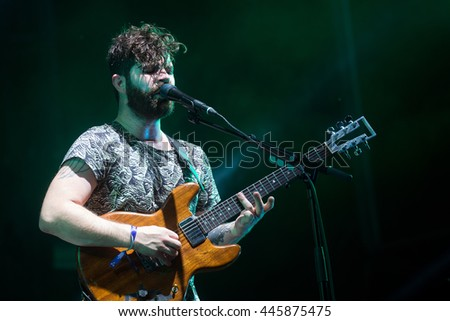 PRAGUE - JUNE 26: Singer and guitarist Yannis Philippakis of English band Foals during performance at Metronome Festival in Prague, Czech republic, June 26, 2016. - stock photo