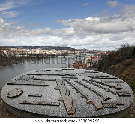Prague - lookout from Vysehrad with an information signs, Czech Republic - stock photo