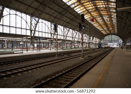 Prague main station - historic building - stock photo