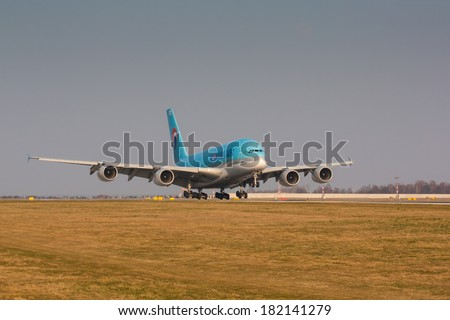 PRAGUE - MARCH 14: A380 Korean Air taxi after landing to terminal PRG in Prague, CZE on March 14, 2014. Blue top livery was introduced on in 1984. Airlines are flag carrier of South Korea