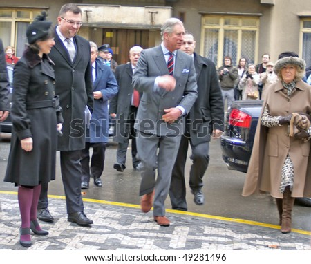 PRAGUE - MARCH 21: Prince Charles and Duchess Camilla arrive for worship at St. Clements Anglican-Episcopal Church, Prague, Czech Republic on March 21, 2010 in Prague - stock photo