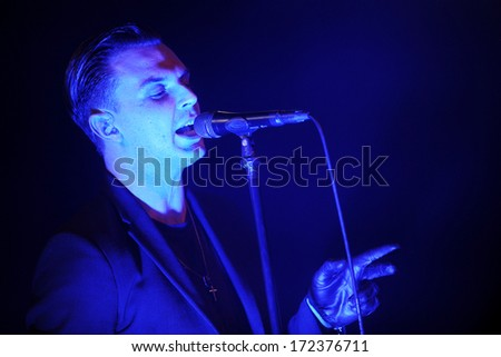 PRAGUE - MARCH 28: Singer Theo Hutchcraft of The Hurts during performance in Prague, Czech republic, March 28, 2013.