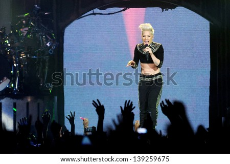 PRAGUE - MAY 10: American singer Alecia Beth Moore alias Pink during her performance in Prague, Czech republic, May 10, 2013 - stock photo