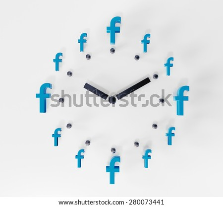 PRAGUE - MAY 04, 2015: 3D printed facebook logos on white paper forming a clock. Facebook is a worldwide well-known social media networking website. - stock photo