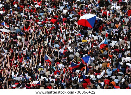 PRAGUE - May 25: Huge crowd celebrating a victory of the Czech ice hockey team in Prague, Czech Republic on May 25, 2009 - stock photo