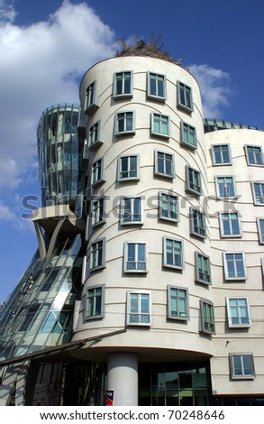 PRAGUE - MAY 21: Nationale - Nederlanden Building also known as The Dancing House or Fred and Ginger - designed by Frank Gehry and Vlado Milunic May 21 2004 in Prague Czech Republic  completed in 1996 - stock photo