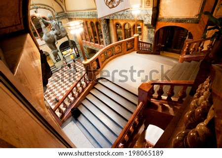 PRAGUE - MAY 16: Stairs inside the historical building of Lucerna Palace on May 16, 2014 in Czech Republic. Lucerna Palace is Art Nouveau building built in 1921 by former President Vaclav Havel family
