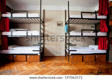 PRAGUE - MAY 14: Three-level dormitory beds inside the hostel room for six tourists or the students on May 14, 2014. Prague receives more than 4.4 million international visitors annually  - stock photo
