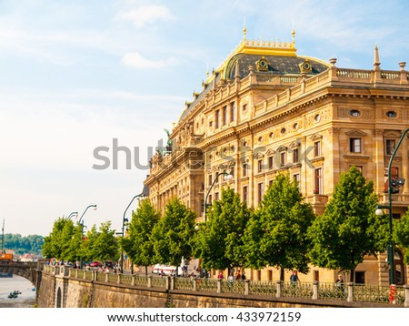 Prague National Theater on sunny day