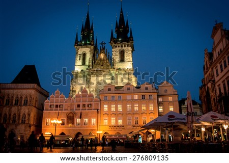 PRAGUE - NOV 13, 2012: Church of Our Lady before Tyn in Prague, Czech Republic. - stock photo