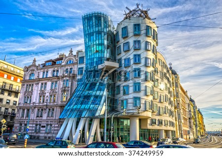 PRAGUE - NOVEMBER 08, 2015: Modern building, also known as the Dancing House, designed by Vlado Milunic and Frank O. Gehry stands on the Rasinovo Nabrezi.  - stock photo