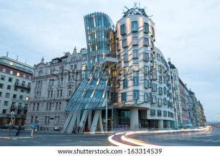 PRAGUE - november 1: Modern building, also known as the Dancing House, designed by Vlado Milunic and Frank O. Gehry. Photographed on November 1, 2013 in Prague.  - stock photo
