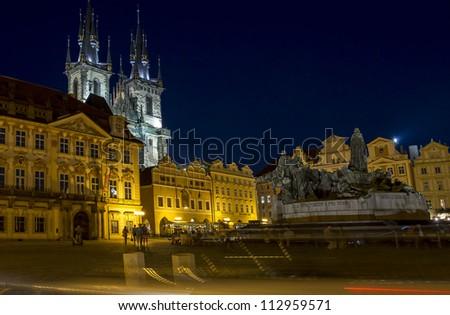 Prague Old square night - stock photo