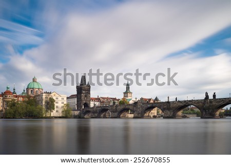 Prague old town and Charles bridge - stock photo