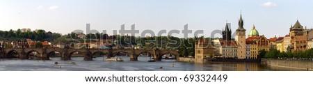 Prague old town Charles bridge - stock photo
