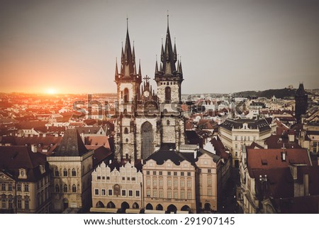 Prague, Old Town Hall in Czech Republic - stock photo