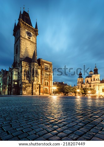 Prague, Old Town Hall on Market Square late evening - stock photo