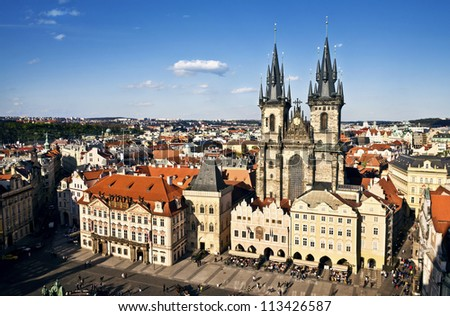 Prague, Old Town Hall (15th Century), Town Square and Church of our Lady Tyn (1365)