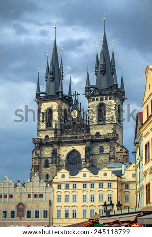 Prague, Old Town Hall (15th Century), Town Square and Church of our Lady Tyn (1365). - stock photo
