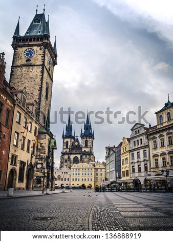 Prague, Old Town Hall (15th Century), Town Square and Church of our Lady Tyn (1365) in the morning. - stock photo