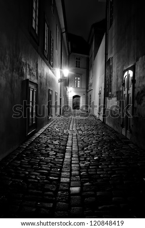 Prague Old Town illuminated by lamps - stock photo