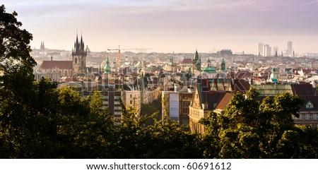 Prague Old Town panorama - stock photo
