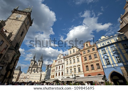 Prague - Old Town Square and City Hall - stock photo