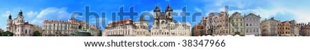 Prague: old town square panorama - stock photo