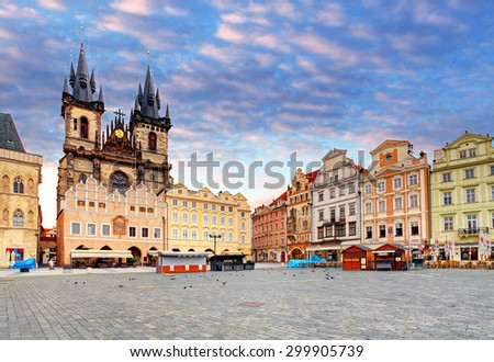 Prague Old town square, Tyn Cathedral - stock photo