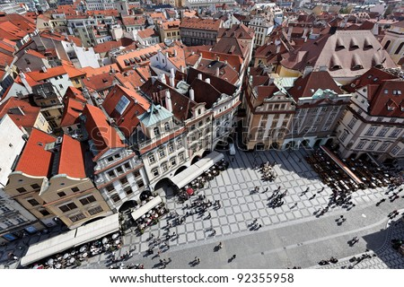 prague, old town square, view from town hall tower - stock photo