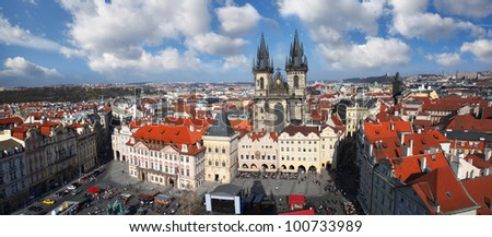 Prague, Old Town Square with Cathedral in Czech Republic - stock photo