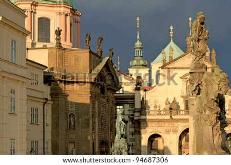 Prague Old Town view of  Knights of the Cross Square with churches and spires - stock photo