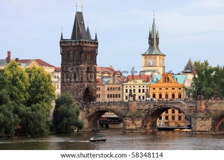 Prague Old Town with the Bridge Tower and Charles Bridge - stock photo