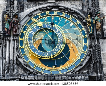 Prague Orloj astronomical clock - stock photo