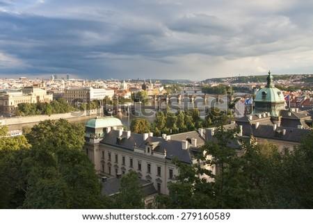 Prague panorama - Charles Bridge - stock photo