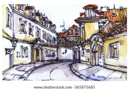Prague panorama. Old town. Watercolor, ink graphic. Architecture