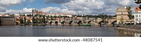 Prague panorama: Prague Castle, Charles Bridge, Vltava River. - stock photo