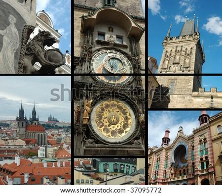 Prague postcard with astronomical clock Prague Orloj,Lesser Tower of Charles Bridge ,Jerusalem synagogue and panorama of old city - stock photo