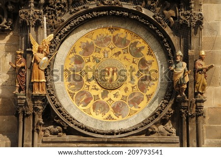 Prague Praga Prag The Golden City Old City Hall - stock photo