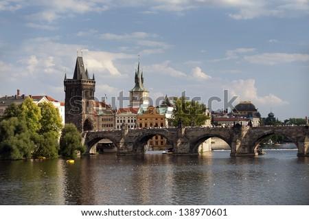 Prague - Prague's Venice, Charles Bridge and Old Town Bridge Tower - stock photo