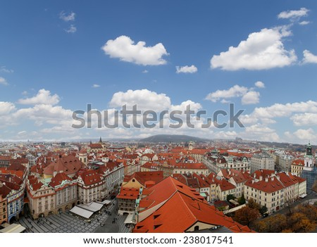 Prague roof tops and Old Town Square, Czech Republic  - stock photo