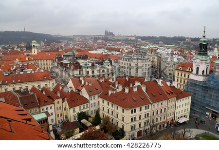 Prague roof tops (Old Town district), Czech Republic  - stock photo