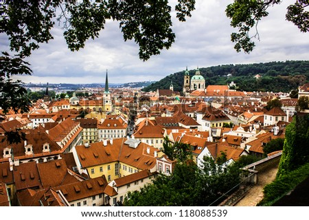 Prague roofs of houses - stock photo