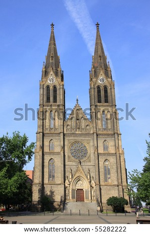 Prague's gothic St. Ludmila Cathedral