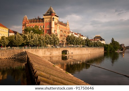 Prague seen from Charles bridge - stock photo