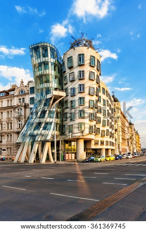 PRAGUE - SEPTEMBER 13, 2014:  Dancing house in Prague. Dancing house or Fred and Ginger building in downtown Prague, Czech Republic. - stock photo