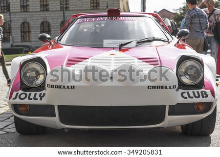 PRAGUE - SEPTEMBER 25: Retro car Lamborghini on exhibition: Prague - Carlsbad Classic. In Prague on September 25, 2015.  - stock photo
