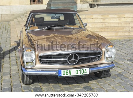 PRAGUE - SEPTEMBER 25: Retro car Mercedes on exhibition: Prague - Carlsbad Classic. In Prague on September 25, 2015.  - stock photo