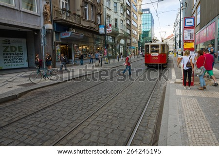 PRAGUE - SEPTEMBER 20, 2014: Street and everyday life of the city. Prague is the capital and largest city of the Czech Republic.